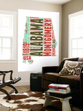 Alabama Word Cloud Map Wall Mural by  NaxArt