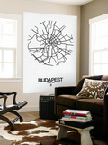 Budapest Street Map White Wall Mural by  NaxArt