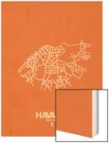 Havana Street Map Orange Wood Print by  NaxArt
