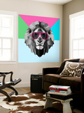 Party Lion in Red Glasses Wall Mural by Lisa Kroll