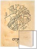 Ottawa Street Map White Wood Print by  NaxArt