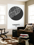 Toronto Street Map Black on White Wall Mural by  NaxArt
