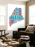 Maine Word Cloud Map Wall Mural by  NaxArt