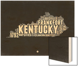 Kentucky Black and White Map Wood Print by  NaxArt