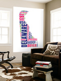 Delaware Word Cloud Map Wall Mural by  NaxArt