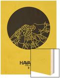 Havana Street Map Yellow Wood Print by  NaxArt