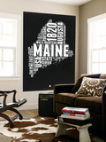 Maine Black and White Map Wall Mural by  NaxArt