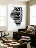 Illinois Word Cloud 2 Wall Mural by  NaxArt