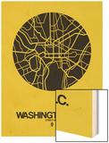 Washington, D.C. Street Map Yellow Wood Print by  NaxArt