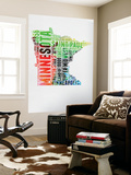 Minnesota Watercolor Word Cloud Wall Mural by  NaxArt