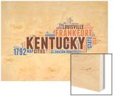 Kentucky Word Cloud Map Wood Print by  NaxArt