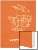 Vancouver Street Map Orange Wood Print by  NaxArt