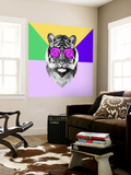 Party Tiger in Glasses Wall Mural by Lisa Kroll