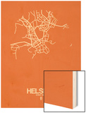 Helsinki Street Map Orange Wood Print by  NaxArt