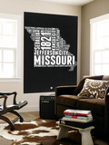 Missouri Black and White Map Wall Mural by  NaxArt