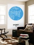 Sydney Street Map Blue Wall Mural by  NaxArt