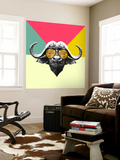 Party Buffalo in Glasses Wall Mural by Lisa Kroll