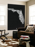 Florida Black and White Map Wall Mural by  NaxArt
