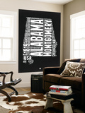 Alabama Black and White Map Wall Mural by  NaxArt