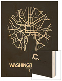 Washington, D.C. Street Map Black Wood Print by  NaxArt