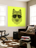 Woolf in Black Glasses Wall Mural by Lisa Kroll