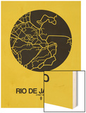 Rio de Janeiro Street Map Yellow Wood Print by  NaxArt