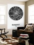 Budapest Street Map Black on White Wall Mural by  NaxArt