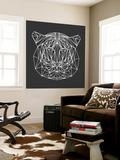 Tiger on Black Wall Mural by Lisa Kroll