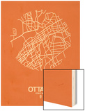 Ottawa Street Map Orange Wood Print by  NaxArt