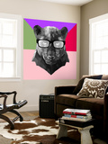 Party Panther in Glasses Wall Mural by Lisa Kroll