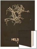 Helsinki Street Map Black Wood Print by  NaxArt