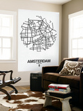 Amsterdam Street Map White Wall Mural by  NaxArt
