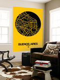 Buenos Aires Street Map Yellow Wall Mural by  NaxArt