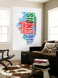 Illinois Watercolor Word Cloud Wall Mural by  NaxArt