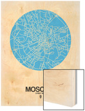 Moscow Street Map Blue Wood Print by  NaxArt