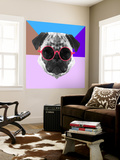 Party Pug in Pink Glasses Wall Mural by Lisa Kroll