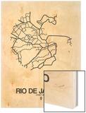 Rio de Janeiro Street Map White Wood Print by  NaxArt