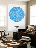 Seoul Street Map Blue Wall Mural by  NaxArt