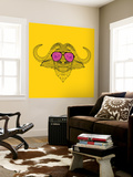 Buffalo in Pink Glasses Wall Mural by Lisa Kroll