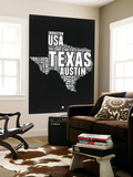 Texas Black and White Map Wall Mural by  NaxArt