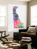 Delaware Watercolor Word Cloud Wall Mural by  NaxArt