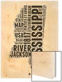 Mississippi Word Cloud 2 Wood Print by  NaxArt
