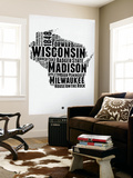 Wisconsin Word Cloud 2 Wall Mural by  NaxArt