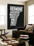 Vermont Black and White Map Wall Mural by  NaxArt