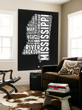 Mississippi Black and White Map Wall Mural by  NaxArt
