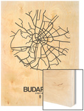 Budapest Street Map White Wood Print by  NaxArt