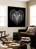 Ram Head Black Mesh Wall Mural by Lisa Kroll