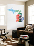 Michigan Watercolor Word Cloud Wall Mural by  NaxArt
