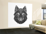 Black Woolf Head Mesh Wall Mural – Large by  NaxArt