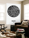 Seoul Street Map Black on White Wall Mural by  NaxArt